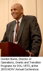 Gordon Burke, Director of Operations, Grants and Transition Programs for DOL-VETS, at the 2010 NCHV Annual Conference.
