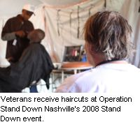 Veterans receive haircuts at Operation Stand Down Nashville's 2008 Stand Down event.